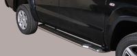 Боковые пороги с площадкой для VW Amarok из нержавеющей стали